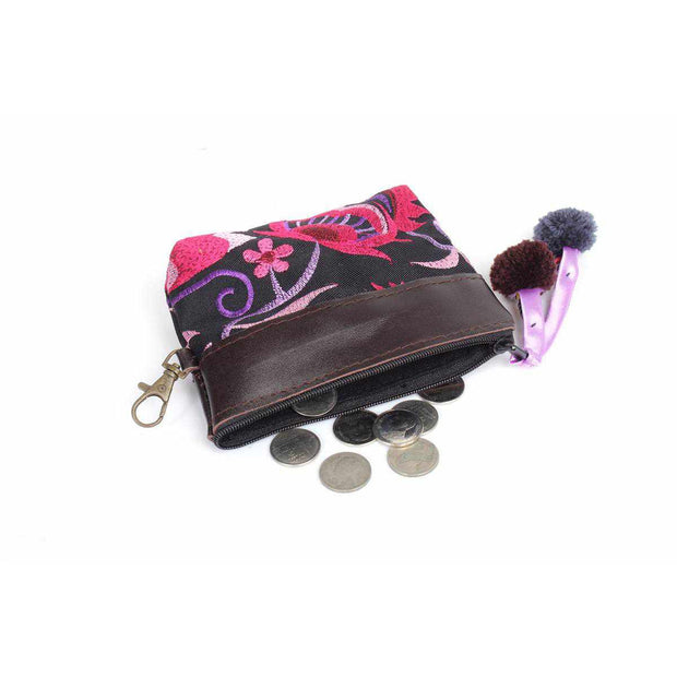 Leather Trim Coin Purse - Thailand-Bags-Lumily