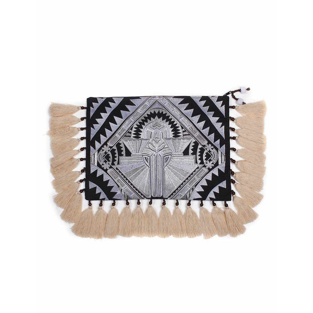 Tahj Embroidered Tassel Computer Cover Clutch - Thailand-Bags-Lumily