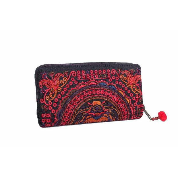 Butterfly Embroidered Wallet - Thailand-Bags-Lumily