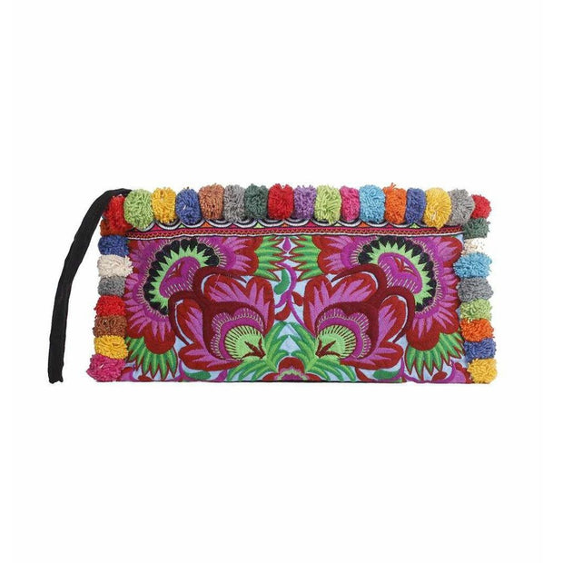 Bird Multi-Color Pom Pom Clutch Bag - Thailand-Shop All-Lumily
