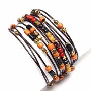 5-Wrap Leather & Beads Bracelet / Necklace - Thailand-Jewelry-Lumily Fair Trade