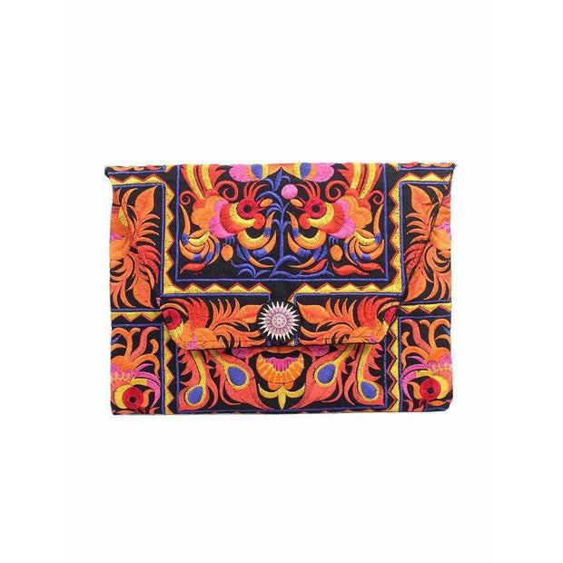 Tahj Embroidered Envelope Clutch - Thailand
