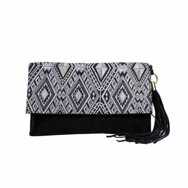 Leather Clutch with Geometric Embroidery Bag - Thailand-Bags-Lumily
