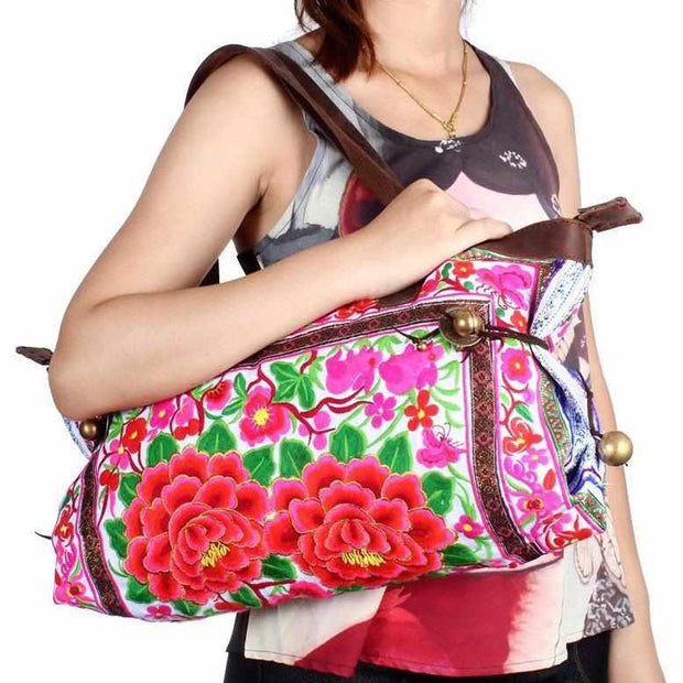 Flower Tote Bag With Leather Strap - Thailand-Bags-Lumily