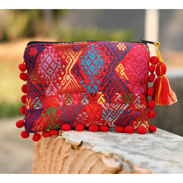 Pom Pom Maya Bag Up-cycled Huipil (Assorted Colors) - Guatemala-Shop All-Lumily