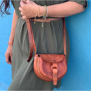 Alicia Leather Crossover Stamped Purse - Mexico-Shop All-Lumily
