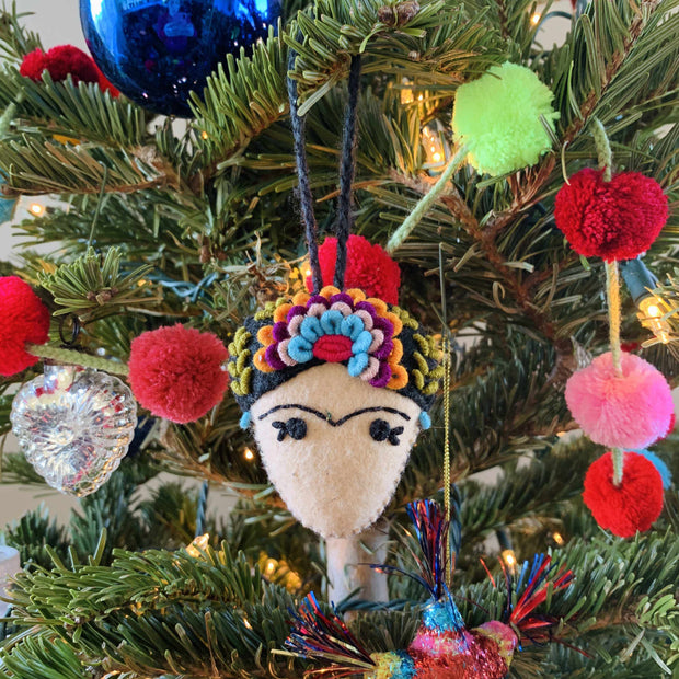 Frida Kahlo Felted Embroidered Ornament - Mexico-Decor-Lumily