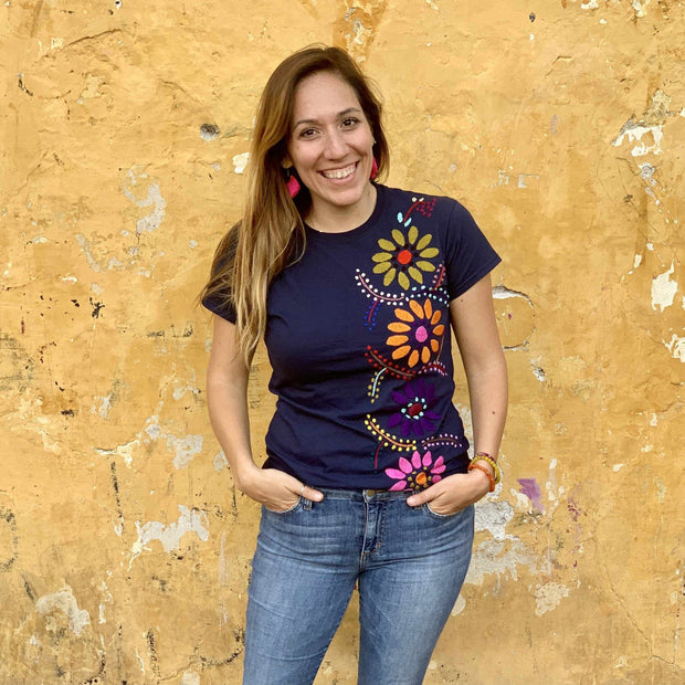 Luzy Hand Embroidered Fitted T-Shirt - Mexico-Apparel-Lumily