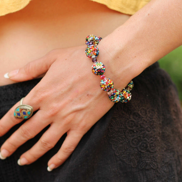 Shiva Magnetic Closure Seed Bead Bracelet - Guatemala-Shop All-Lumily