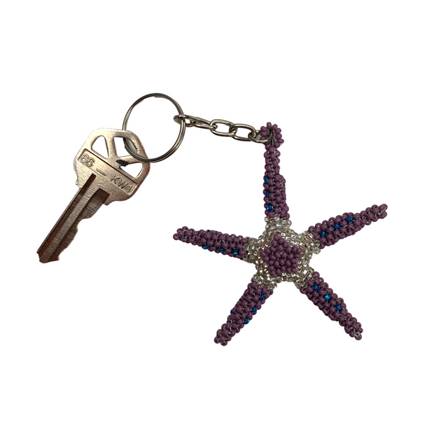 Starfish Seed Bead Keychain - Guatemala-Shop All-Lumily