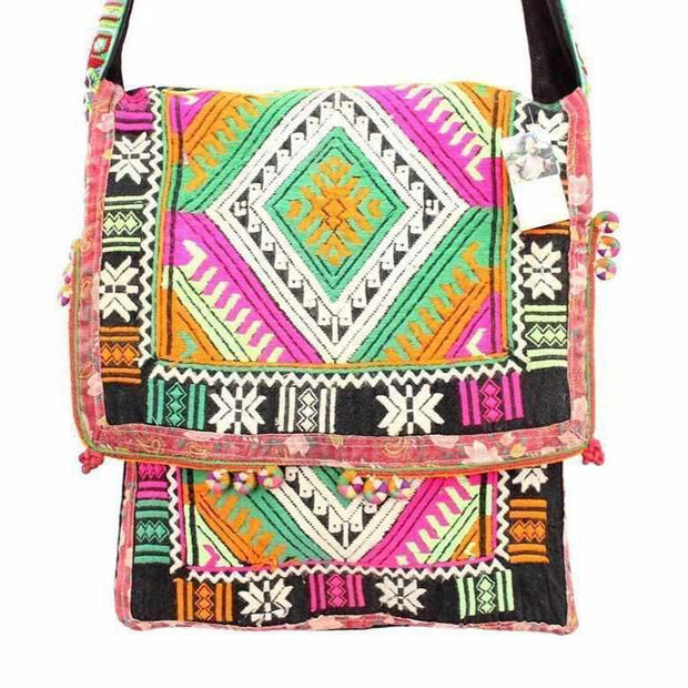 Akha Geometric Messenger Tote - Thailand-Bags-Lumily Fair Trade