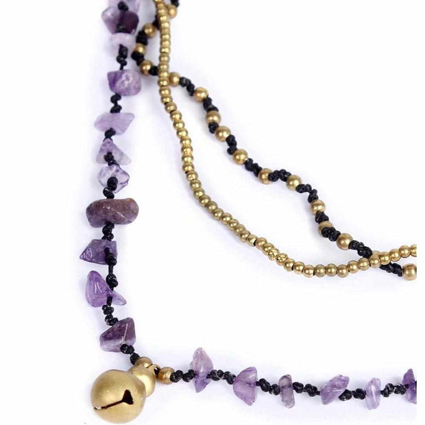 Amethyst and Brass Ball Necklace - Thailand-Jewelry-Lumily Fair Trade