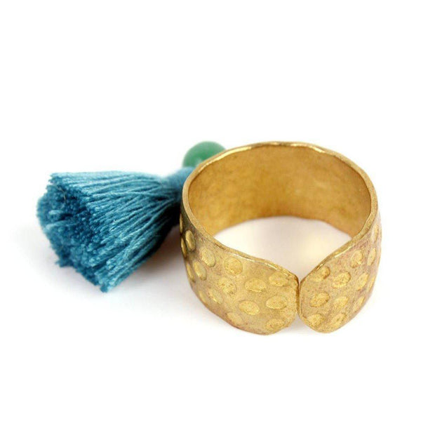 Tassel brass adjustable ring with semiprecious stone lumily