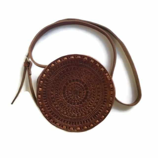 Aria Round Leather Purse - Mexico-Shop All-Lumily Fair Trade