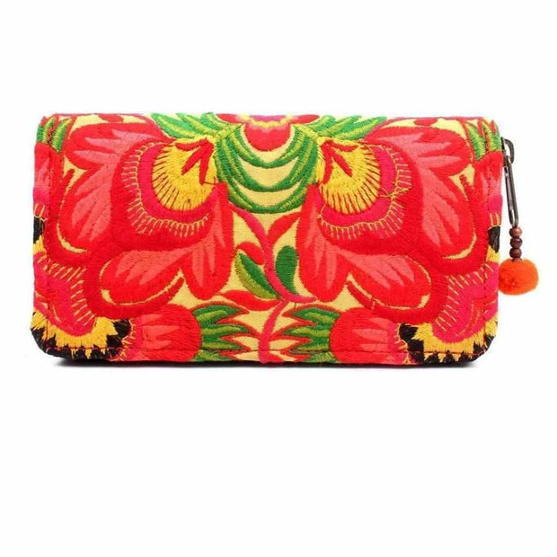 Bali Flower Embroidered Wallet - Thailand-Bags-Lumily Fair Trade