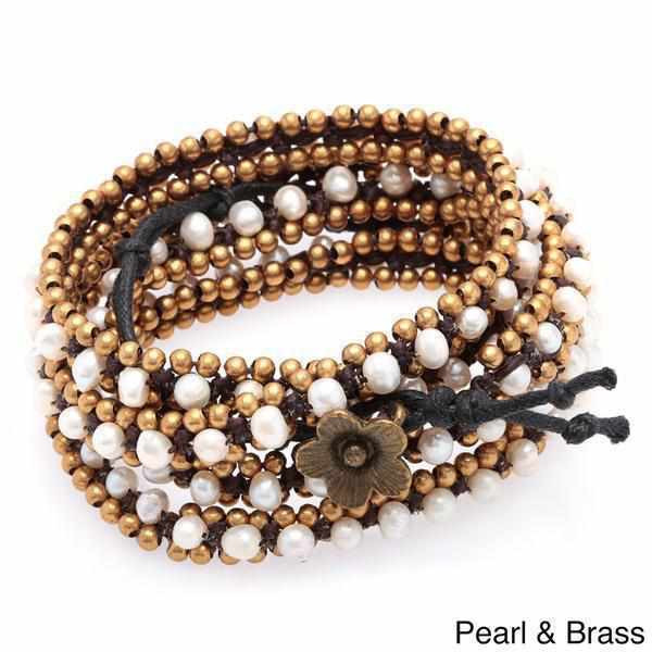 Brass Bead Five Wrap Bracelet - Thailand-Shop All-Lumily Fair Trade