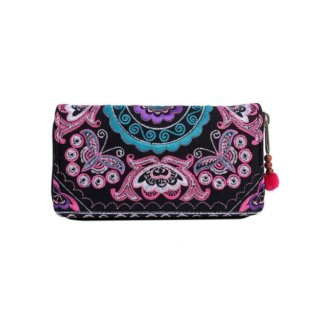 Butterfly Embroidered Wallet - Thailand-Bags-Lumily Fair Trade