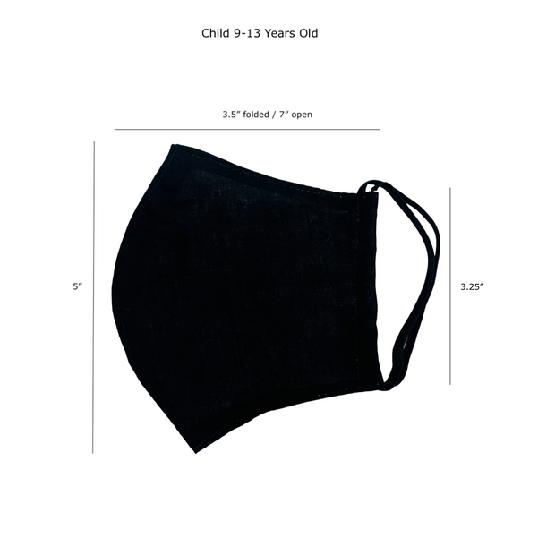 Child 9-12 Years Old Reusable Face Mask with Filter Pocket 100% Cotton - Thailand-Apparel-Lumily Fair Trade