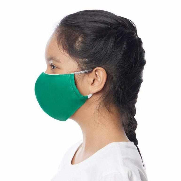 child face mask face cover adjustable reusable green