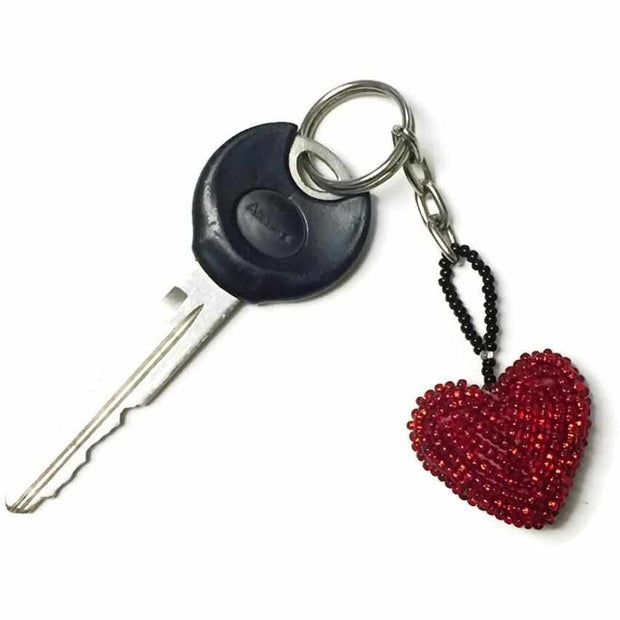 Corazon Heart Beaded Key Chain - Guatemala-Shop All-Lumily Fair Trade