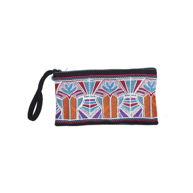 Deco Roll Embroidered Wristlet - Thailand-Bags-Lumily Fair Trade