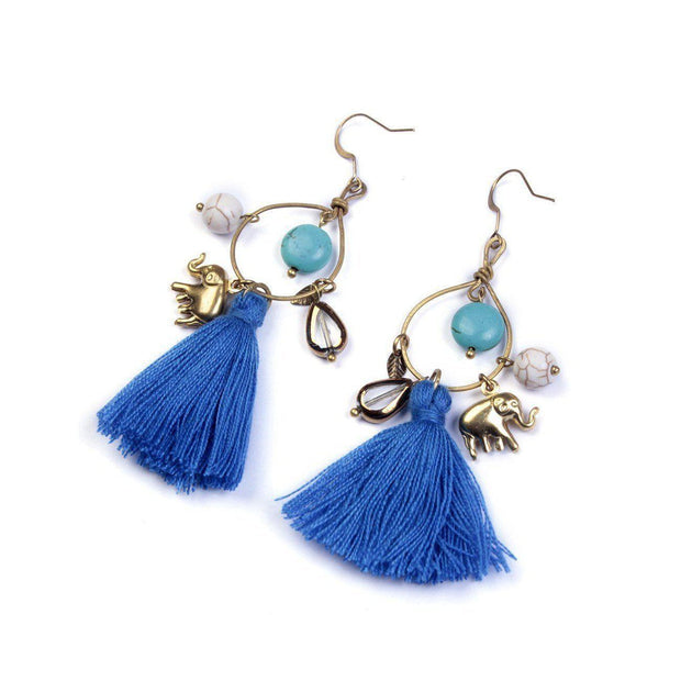 Elephant Tassel Earrings - Thailand-Jewelry-Lumily Fair Trade