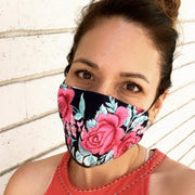 rose embroidered face mask face cover with filter pocket