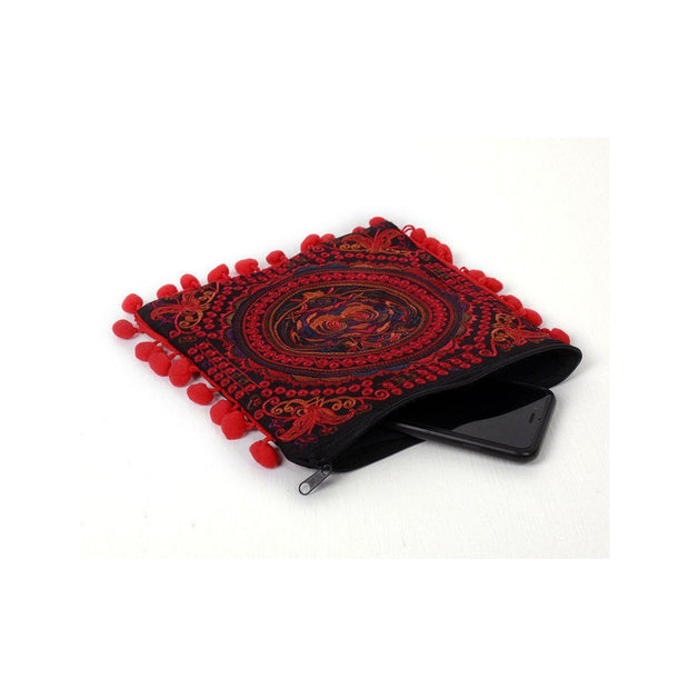 Embroidery Butterfly Clutch With Pompoms - Thailand-Shop All-Lumily Fair Trade