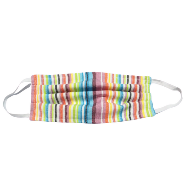 Multicolor striped rainbow face mask cover handmade in Guatemala fair trade lumily