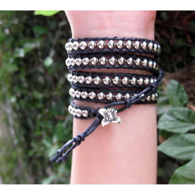 Five Wrap Leather Bracelet - Thailand-Shop All-Lumily Fair Trade