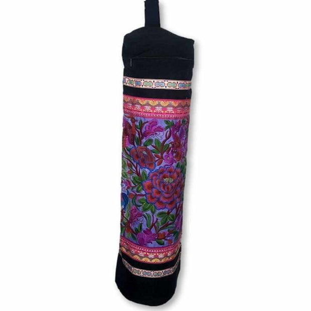 Flower Power Embroidered Yoga Bag - Thailand-Bags-Lumily Fair Trade