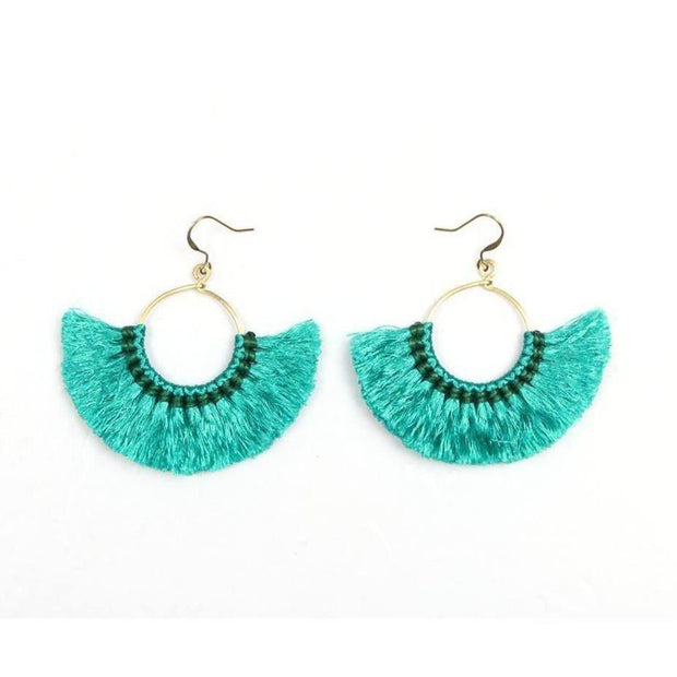 Half Moon Tassel Earrings (1 Color) - Thailand-Jewelry-Lumily Fair Trade