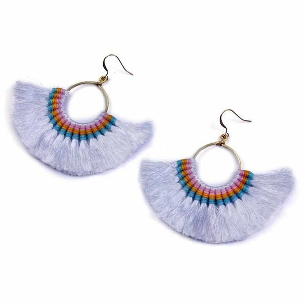 Half Moon Tassel Earrings (3 Color) - Thailand-Jewelry-Lumily Fair Trade
