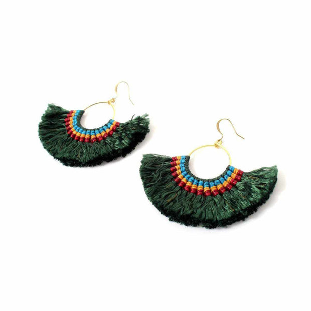 Half Moon Tassel Earrings with Wax String - Thailand-Jewelry-Lumily