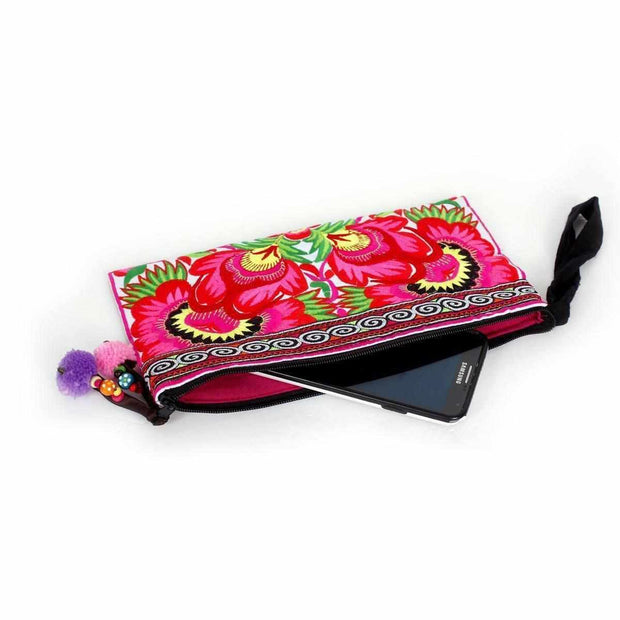 Sarita Hmong Embroidered Wristlet - Thailand-Bags-Lumily