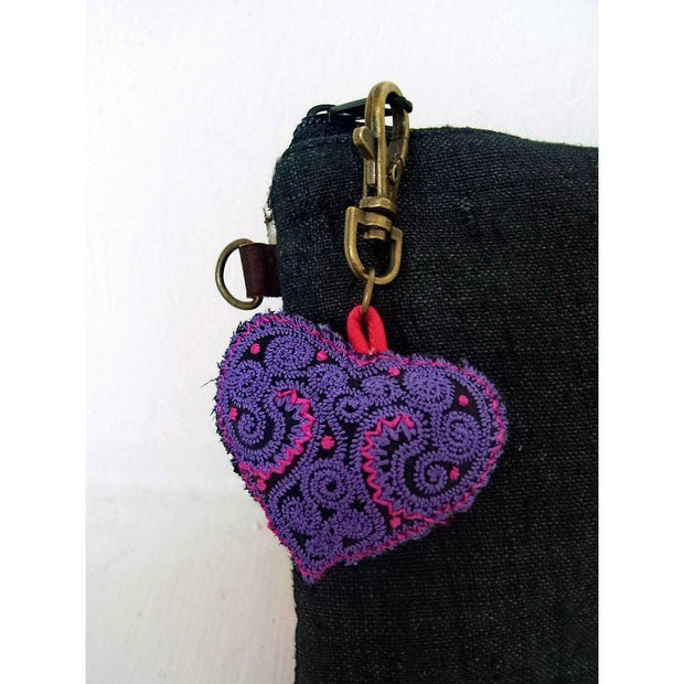 Heart Embroidered Zipper Pull - Thailand-Shop All-Lumily Fair Trade