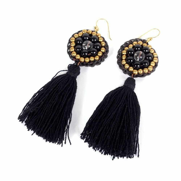 Hmong Circle Tassel Earrings - Thailand-Jewelry-Lumily Fair Trade
