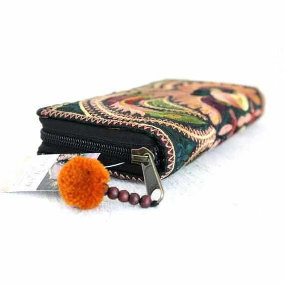 Hmong Flower Embroidered Wallet - Thailand-Shop All-Lumily Fair Trade