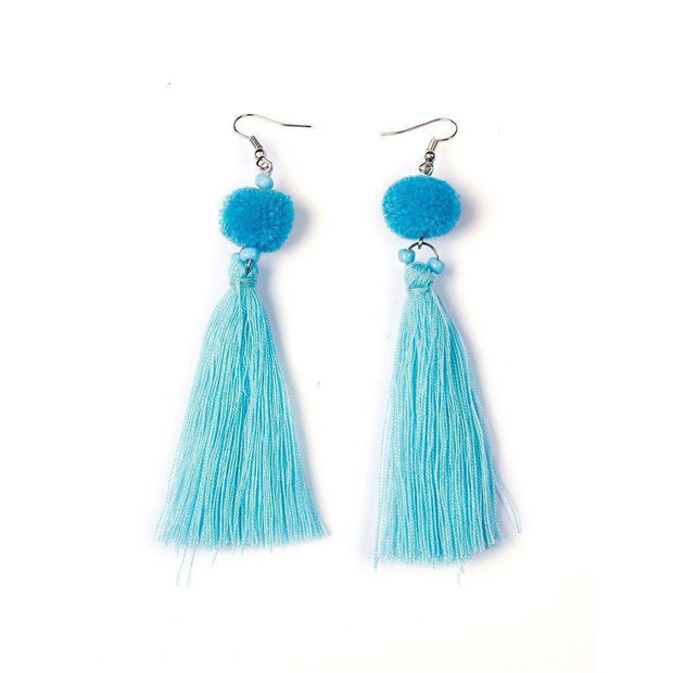 Hmong PomPom Tassel Earrings - Thailand-Jewelry-Lumily Fair Trade