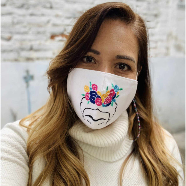 Frida Kahlo Embroidered Face Mask with Filter Pocket - Thailand-Apparel-Lumily