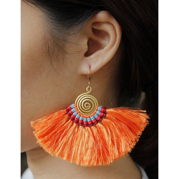 Large Half Moon Tassel Earrings - Thailand-Jewelry-Lumily Fair Trade