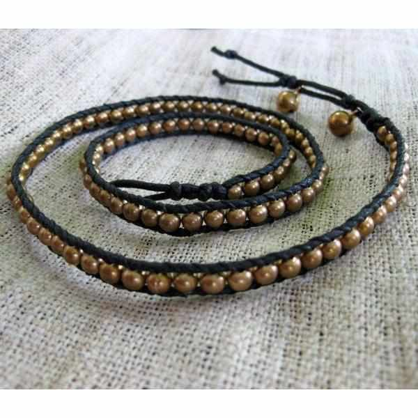 Leather & Beads Three Wrap Bracelet - Thailand-Shop All-Lumily Fair Trade