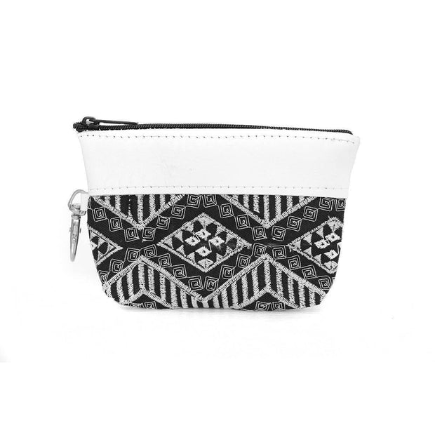 Leather Trim Diamond Coin Purse (White) - Thailand-Bags-Lumily Fair Trade
