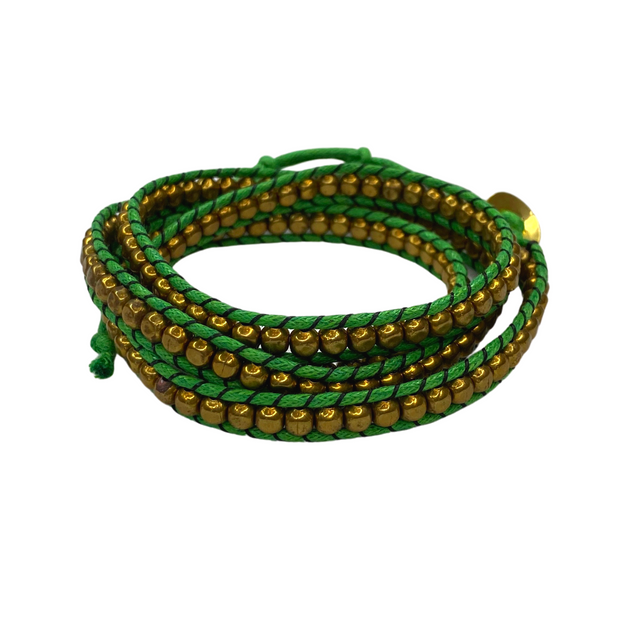 Lime Green & Brass Beads 5-Wrap Bracelet - Thailand-Shop All-Lumily
