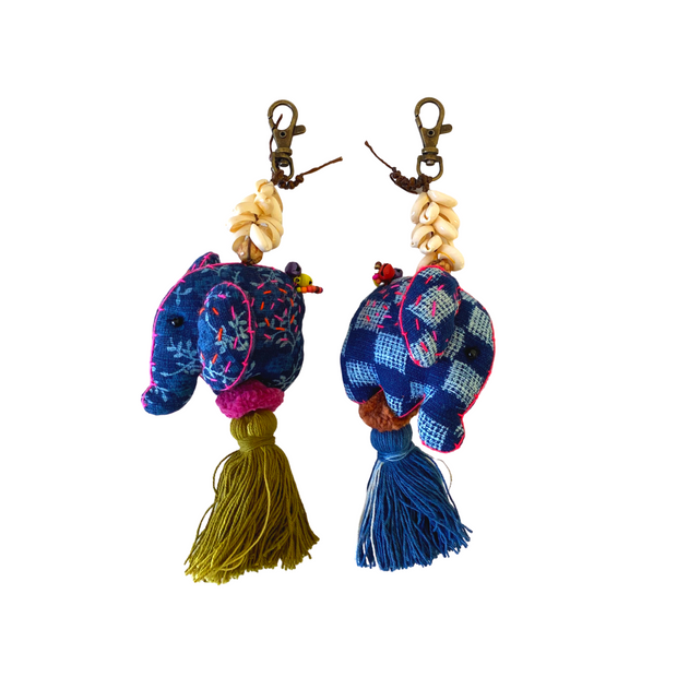 Oasis Elephant with Shells Zipper Pull - Thailand-Accessories-Lumily