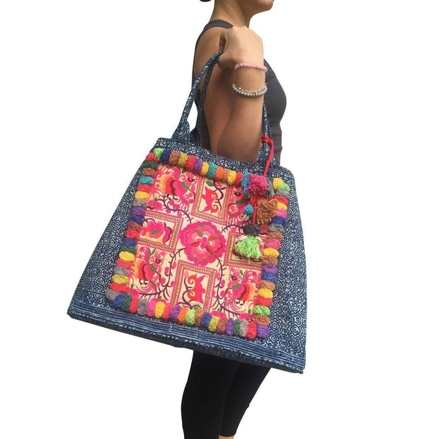 Hmong Batik Beach Tote - Thailand-Shop All-Lumily Fair Trade