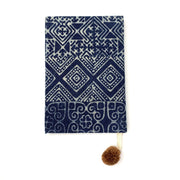 lined notebook batik with pompom indigo hand stamped