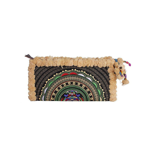 Pom Pom Boho Clutch - Thailand-Bags-Lumily Fair Trade
