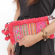 PomPom Vintage Hmong Clutch - Thailand-Bags-Lumily Fair Trade