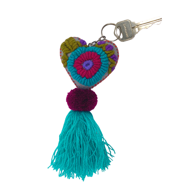 Rapture Embroidered Heart Key Chain / Zipper Pull - Mexico-Shop All-Lumily
